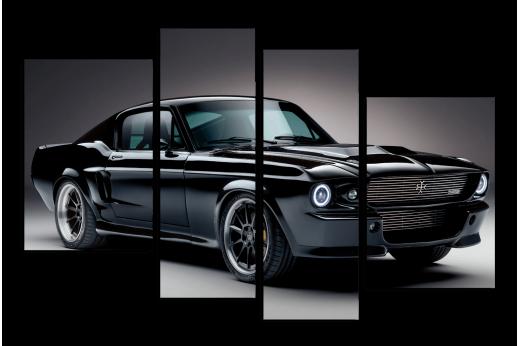 Модульная картина Ford Mustang Черная